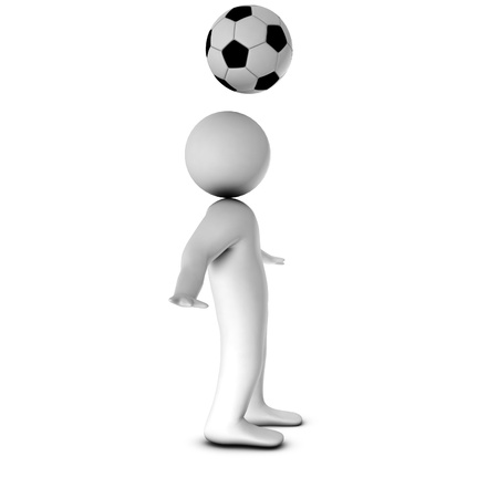 3D man with a football isolated over a white background  photo