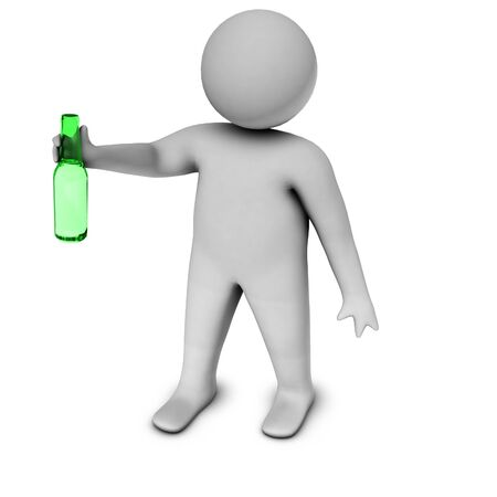 3d man with bottle  photo