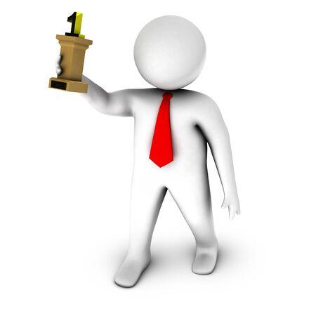 dais: 3d businessman with statuette
