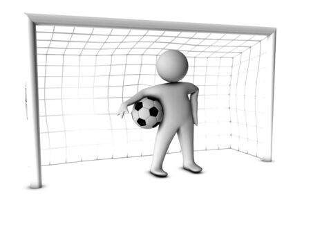 keeper: 3d soccer player with gate
