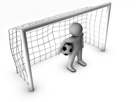 goalline: 3d soccer player with gate