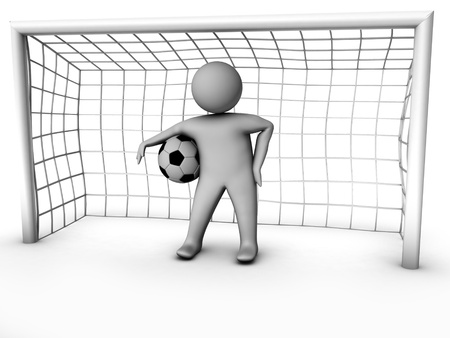 goal kick: 3d soccer player with gate