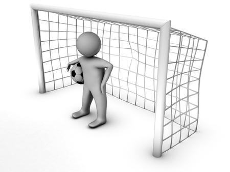 portero: 3d jugador de fútbol con la puerta