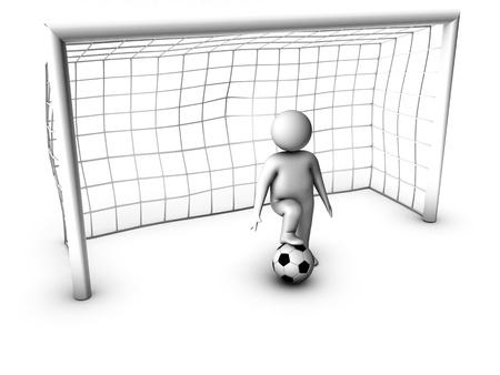 arquero futbol: 3d jugador de fútbol con la puerta