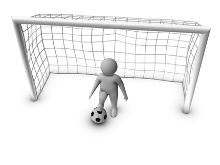 sport cartoon: 3d soccer player with gate