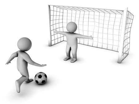 penalty: two 3D soccer players and the gate