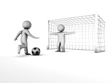 goal kick: two 3D soccer players and the gate