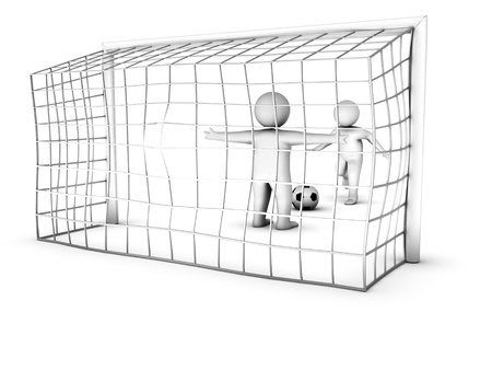 goalline: two 3D soccer players and the gate