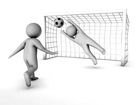 goal keeper: twee 3D-voetballers en de poort