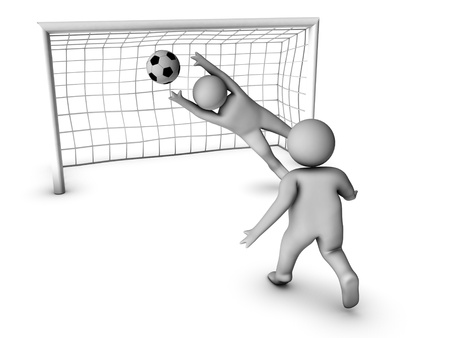 goal kick: two 3D soccer players and the gate Stock Photo