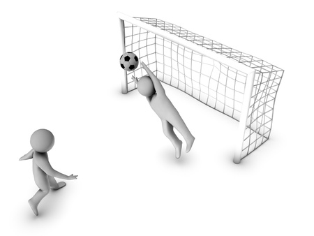 keeper: two 3D soccer players and the gate