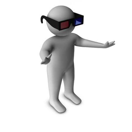 blind person: 3d man with 3d glasses  Stock Photo