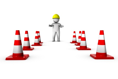 cartoon safety: 3d worker with traffic cones  Stock Photo