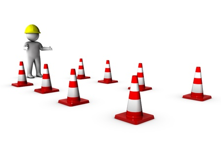 3d worker with traffic cones  photo