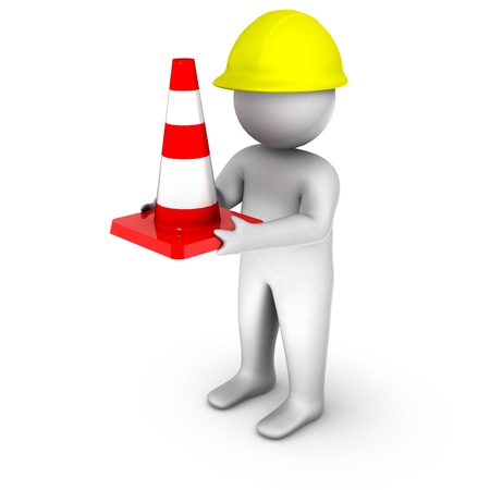 3d worker with traffic cone Stock Photo - 11256972