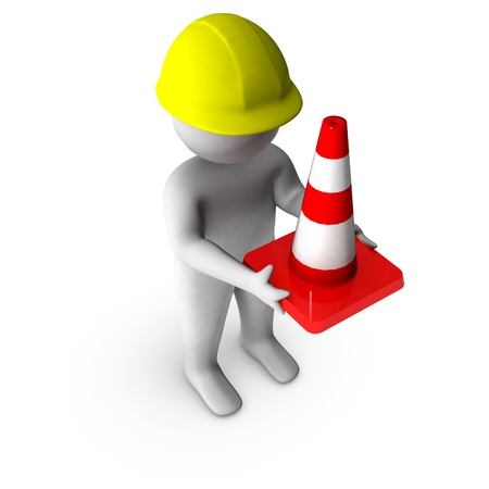 3d worker with traffic cone  photo