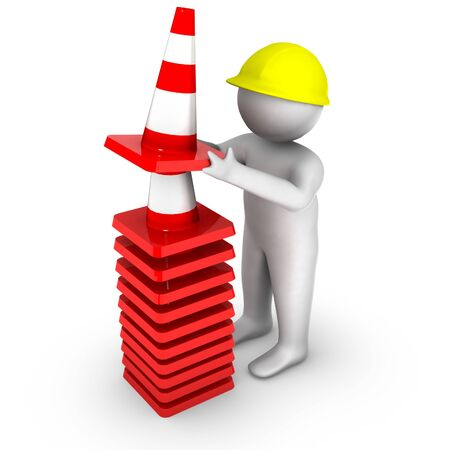 cartoon safety: 3d man with stack of traffic cones