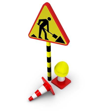 seguridad laboral: 3d bajo el signo de la construcción Foto de archivo