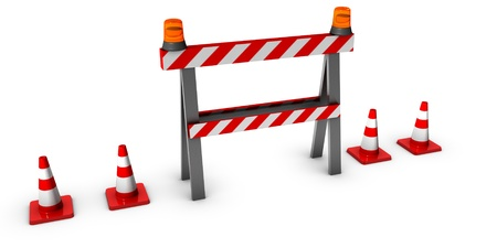 in the reconstruction: 3d construction and caution sign with traffic cones  Stock Photo