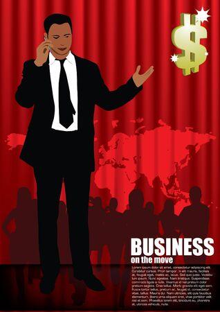 businessmen on red global background Stock Vector - 11381893