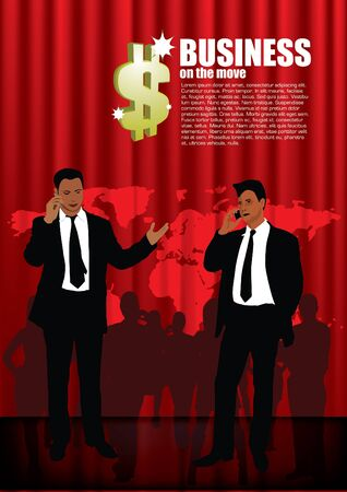 businessmen on red global background Stock Vector - 11381894