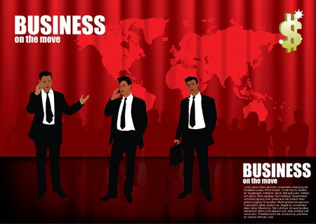 businessmen on red global background  Stock Vector - 11381896
