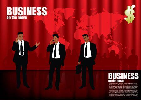 businessmen on red global background Stock Vector - 11381896