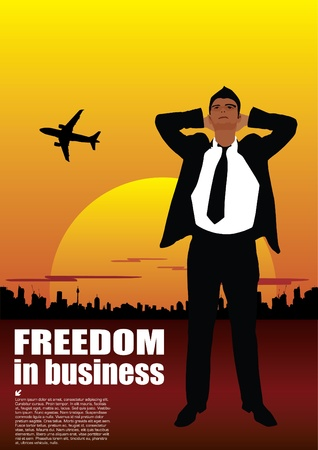 financial freedom: businessman on sunset background