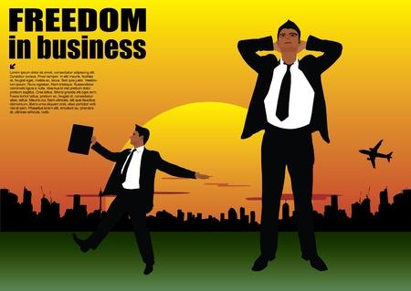 financial freedom: businessman on sunset background