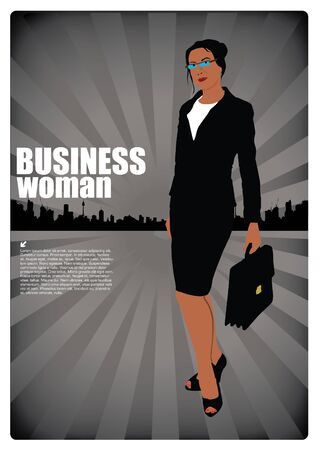 businesswoman on urban background  Vector