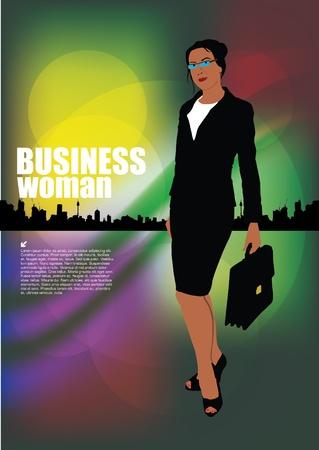 businessperson: businesswoman on decorative city background  Illustration