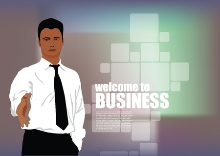 welcome business: businessman invitation
