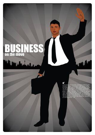 suit case: businessman on city background