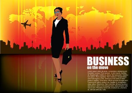 sexy business woman: businessman on urban background  Illustration