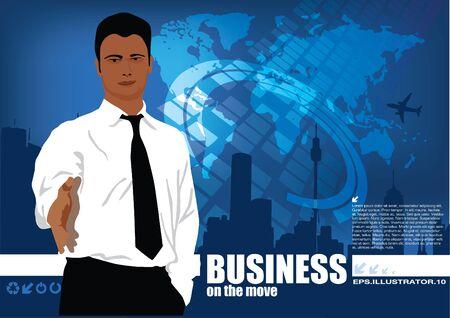 excitement: businessman on digital world background