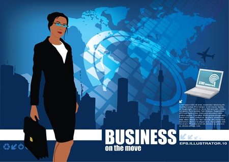 businesswoman on digital world background  Vector