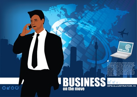 businessman on digital world background  Vector
