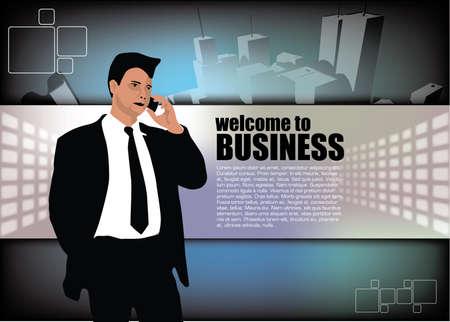 excitement: businessman on city background