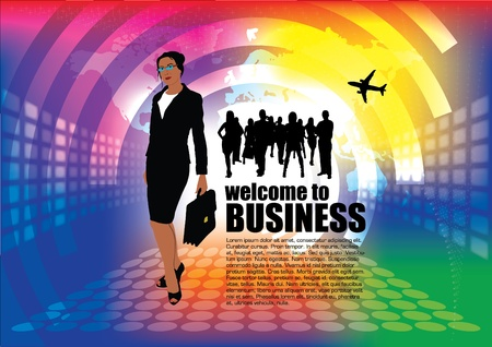 welcome business: businesswoman on modern background background
