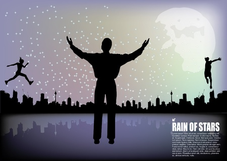 person on moonlight landscape  Vector