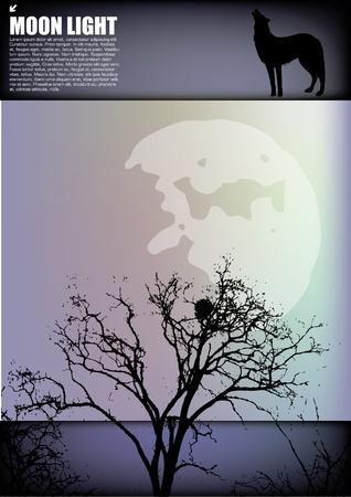 Moonlight landscape banner  Vector