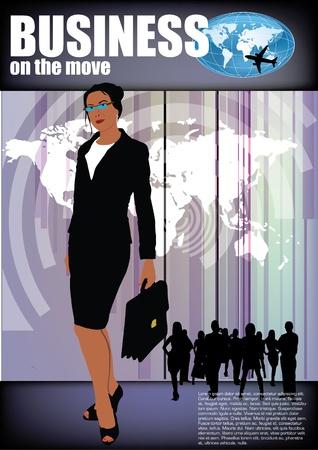 sexy business woman: businesswoman on modern background  Illustration