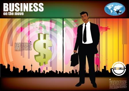 businessman on digital background  Vector