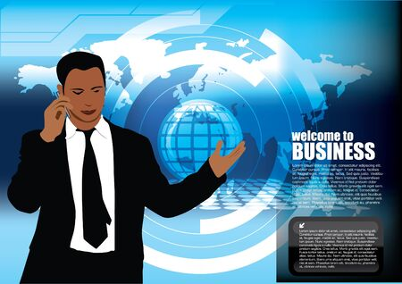 businessman on technical background  Vector