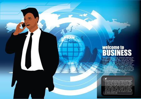 businessman on blue corporate background  Vector