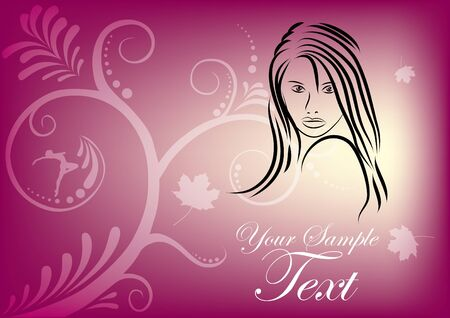 decorative woman postcard  Vector