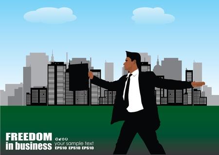 businessman on city panorama  Vector