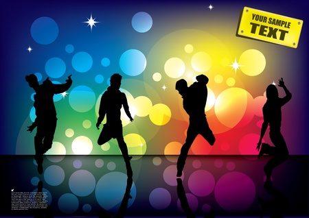 dancing people on glowing background  Vector