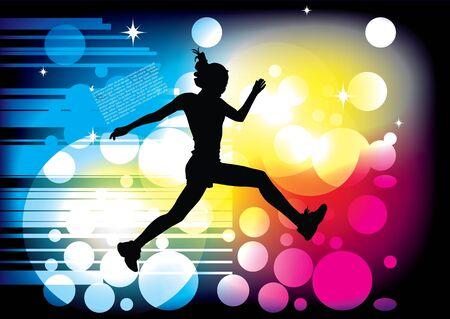 mujer saltando en el fondo dinámico Ilustración de vector