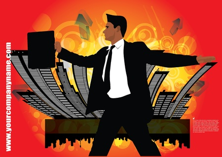 business person on abstract city background  Vector